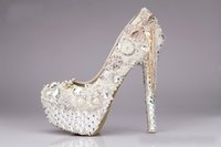 Wholesale heart shaped heel shoes - Luxury Wedding Shoes Bridal Rhinestone Waterproof White Round Head Shallow Mouth Thin High Heel Shoe Special Occasion Shoe