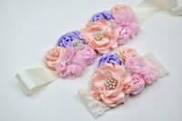 Wholesale pink pearl headbands - Girls Blush Lace Pearl Headband and Sash set Matching Rosette Shabby Flower Girl Headband Sash Custom Bridal Wedding Baby Shower Sash