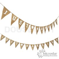 estive Party Supplies Party Supplies événement Juste Drapeaux Marié M. Mme Jute Jute Bunting Mariage rustique bannière Garland Party Decoration P ...