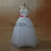 Wholesale Tulle Wedding Gowns Color Belt - 2017 A-Line Wedding Dresses Strapless Collar Beaded Pearls Pleated Bodice Lace-Up Floor Length Court Train Bridal Gowns With Fuchsia Belt