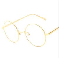 montura de gafas coreanas al por mayor-Al por mayor-NUEVA coreano retro borde completo del marco de la lente del oro nerd delgado METAL PREPPY ESTILO vintage gafas redondas UNISEX oro negro