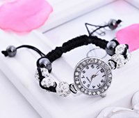 Wholesale Disco Pave Watch - Fashion Bling Shamballa Bracelet Watch Braided Rope Adjustable Bracelets Pave Crystal Disco Beads Quartz Shamballa Watch Xmas Gift -J942