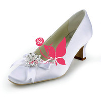 Wholesale Solid Square Beads - Brand New Cheap Shoes White Satin Heels Bridal Beads Shoes Square Toe Wedding & Party Shoes WS0118W Customise Size 33 to 43