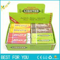 Wholesale chewed gum - Novelty gas Chutty Lighter Chewing Gum Windproof gas lighter Green Arrow Flame lighter Gadget for smoking