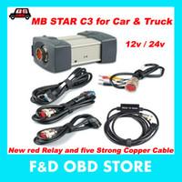 mb stern c3 software großhandel-Sonderpreis (12V / 24V) MB STAR C3 keine Software Alle neuen roten Relais und fünf starken Kupferkabel Stern c3 können Autos und LKW unterstützen