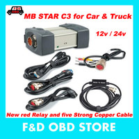 Wholesale Mb Star Truck - Special price(12v 24v )MB STAR C3 no software All New red Relay and five Strong Copper Cable star c3 can Support cars and trucks