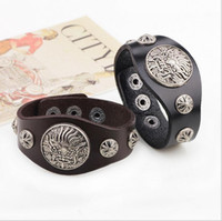 Wholesale Pulseras Hip Hop - 2016 New Arrival Hip Hop Wide Leather Bracelet Cuff Rope Bangles Cowboy Rider Men Retro Punk Chinese Dragon Rivet Bracelets pulseras