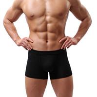 underwear men pouch bulge venda por atacado-New Sexy Men Underwear Preto Branco 2017 Moda Mens Boxer Shorts Bulge Pouch Cuecas Macias 5 pçs / lote