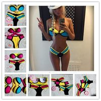 Wholesale Wholesale Push Up Bars - 2015 Sexy Triangle Bikini Women Bandage Triangle neoprene beach Bikini Push-up Padded Bar Swimsuit Push Up Bikini Swimwear 300set B70