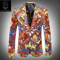 Wholesale Famous Textiles - Wholesale- 2017new product Factory direct sales price luxur velveteen printing textile famous red blazer slim suit winter jacket size M-3XL