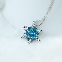 Wholesale Vintage Snowflake Necklace - Wholesale- Charm Vintage lady Blue Crystal Snowflake Zircon Flower Silver Necklaces & Pendants Jewelry for Women Free Shipping x24
