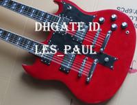 vino tinto al por mayor-Custom Jimmy Page 12 6 cuerdas 1275 Double Neck Led Zeppeli Page Firmado Aged Wine Red Body Guitarra eléctrica