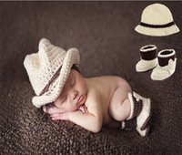 Wholesale Crochet Hats For Newborn Babies - Baby Bow Tie Suspender Hat Suit Crochet Knit Costume Soft Adorable Clothes Photo Photography Props for 0-6 Month Newborn Infant D043