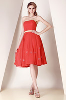 Wholesale Strapless Chiffon Dress Watermelon - New Designer A Line Fashionable little Strapless Watermelon Homecoming Dress Popular Bridesmaid evening dress Bridal party dress Prom gown
