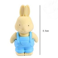 Wholesale Cartoon Rabbit Eraser - Free Shipping 10pcs Cute Little Rabbit Eraser Students Creative Cartoon Products Prize Gift Fashion Pencil Eraser Stationery Papelaria