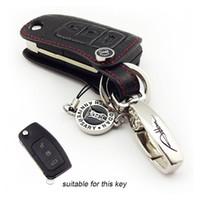 2272928b48d3 Porte-clés de voiture en cuir véritable clé porte-clés de voiture pour FORD  MONDEO Fiesta Focus C360 S-MAX ADDAN accessoires de voiture couleur noire