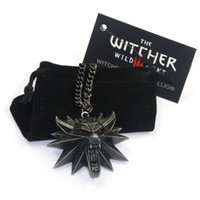 Wholesale Wholesale Wolf Head Pendant Necklace - Newest Hot The Witcher 3 Wild Hunt Medallion Pendant Chain Necklace The Wild Hunt 3 Figure Game Wolf Head Necklace With Bag & Card