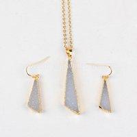 Wholesale Wholesale Druzy Earrings - Free shipping Freeform Triangle Shape Druzy Stone jewelry Necklace & Dangle Earring Jewelry Sets Best Gift for Women G0609