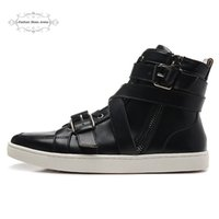Taille 39-46 Men's Black Genuine Leather avec Bottes de moto Red Bottom Ankle de style Strap / Zip, nouvelle mode Plus Size High Top Sneakers