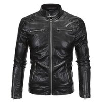 Wholesale Mens Leather Top Coat - Fall-Top quality men leather jacket motorcycle PU with zipper mens jackets and coats jaqueta de couro masculina plus size M-5XL
