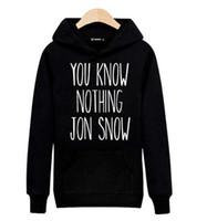 Wholesale Street Sweatshirt Collar - Hot Sale! YOU KNOW NOTHING JON SNOW Harajuku Sweatshirt Black for Street Wear Hoodies Men Luxury Brand Gray 3XL