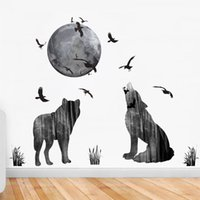 Wholesale forest wallpaper for home - Forest Animals Decor DIY Wallpaper Art Decals Eagle Wolf Moon Wall Stickers for Bedroom Room Home Decoration