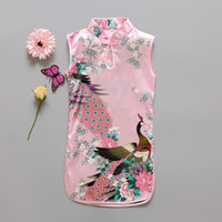 qipao vestido menina venda por atacado-Moda Estilo Chinês Meninas Vestido Mais Novo Flor de Pássaros de Algodão Roupas Infantis Kid's Qipao Vestido de Roupas de Bebê Do Vintage Moda Flor Peac