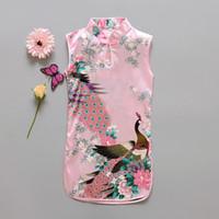 ingrosso ragazze di fiori cinesi-Moda ragazze in stile cinese vestito più nuovo fiore uccelli cotone abbigliamento per bambini Qipao vestito per bambini abbigliamento vintage per bambini moda fiore Peac