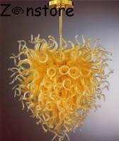araña de cristal amarillo al por mayor-Lemon Yellow Love Chandelier - Decoración contemporánea para sala de estar Art Glass Chandelier LED Light 100% Hand Chandelier Glass Light