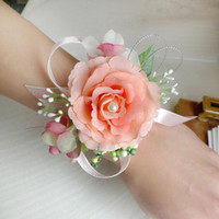 Wholesale Corsage Bracelets - Wholesale Artificial Silk Flowers Bridal Wrist Flower Corsage Bridesmaid Sisters Hand Flowers Wedding Prom Bracelet JM0178 salebags