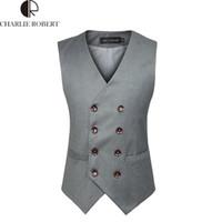 Wholesale Mens Double Vests - Wholesale-Mens Double Breasted Vest Colete Masculino Men Dress Suit Vest Men Formal Black Gtrey Vest Suit Gilet Vest Double Beasted