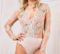Wholesale Bud Silk Dress - Women Blouses Lace Dresses Bodycon Hollow Out Dress New Deep V Bud Silk Embroidered Long Sleeved Jumpsuits Sexy See Through Lace Beach Wear