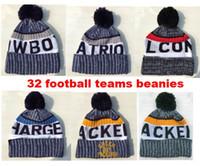 Wholesale Wholesale Winter Sports Teams Hats - 2018 New Arrival Beanies Hats American Football 32 teams Beanies Sports winter side line knit caps Beanie Knitted Hats drop shippping B08