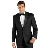 Wholesale Tie Front Suit - Wholesale-Custom Made!2016 New Solid Black Chest Welt Pockets Two Buttons Front Design Best Man Wedding Prom Suits (Jacket+Pants+Bow tie)