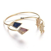 Wholesale Wholesale Arrowhead Charms - 3 Colors Fashion Arrowhead Natural Marble Stone Geometric Open Cuff Crystal Flower Bracelet Bangle Women Party Jewelry