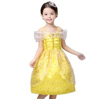 Wholesale Yellow Princess Dresses For Sale - hot sale custom made beauty and the beast cosplay carnival costume kids belle princess dress for Christmas Party dress A5178
