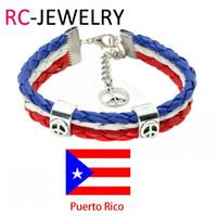 Wholesale Gift Football World Cup - 29# Football world cup bracelet Puerto Rico peace football fans bracelet National Day Bracelet