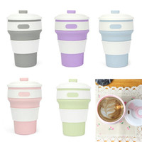 Wholesale Coffee Cup Top - Hot selling 2017 Collapsible Silicone Coffee Cup Foldable Water Bottle Sport Flip-top BPA-Free 350ML 142G GIFT BOX