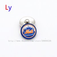 Wholesale Accessories Wholesale New York - Noosa jewelry accessories New York Mets MLB baseball glass snap button charm popper for chunk snap bracelet jewelry making NE0103