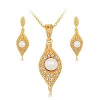 bijoux fantaisie achat en gros de-perle perlas ensembles de bijoux gioielli grandes femmes mode fine cristal 18k collier en or boucle d'oreille accessoires de mariage mariée Afrique ensemble bijoux