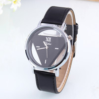 Wholesale Dressing Watches - Hot Women Mens Hollow Triangle Watch Charm Glass Leather Strap Stainless Steel Sport Analog Quartz Unisex Wrist Dress Watches