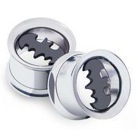 Wholesale Batman Ear Plugs - Ear Expander piercing Stainless Steel Bat Batman Screwed Ear Expander Plugs hollow 6 Pair 6-16MM Ear plugs body piercings