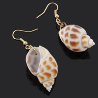 Wholesale Pink Shell Drop Earrings - European American female conch shape dangle earring Silverstone Metal Seashells Shells Conch Ocean Inspo Design Drop Earring