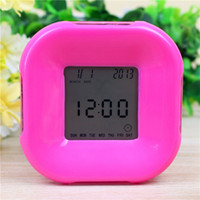 5 Color Modern Desktop Alarm Clock Digital Clock Digital Gadget Night Cubo splendente Desktop LCD digitale orologi elettronici