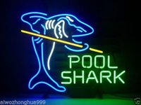 "Wholesale Real Pool - New Pool Shark Billiards Real Glass Sign Game Room Beer Bar Neon Light 17""x14"""