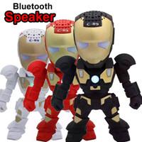 haut-parleurs bluetooth clignotants achat en gros de-Bluetooth Mini Haut-Parleur avec LED Clignotant Robot C89 Iron Man Haut-Parleur Portable Sans Fil Stéréo Hifi Subwoofers TF USB MP3