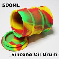 Wholesale Custom Shaped Rubber - Large oil barrel wax jars 500ml non-stick slick silicone oil drum non-stick custom oil rubber drum shape containers DHL free