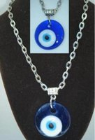 Wholesale Glass Evil Eye Necklace - Vintage Silver Glass Evil Eye Necklaces Pendants Charms Choker Collar Necklaces For Women Gift DIY Jewelry Fashion Accessories Halloween Q72