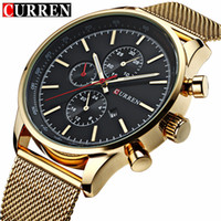 Wholesale Quartz Movt - 2017 New CURREN Luxury Brand Gold Watch Clock Men Watches Japan Movt Quart Full Stainless Steel Military Wristwatches Relogio Feminino Clock