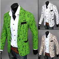 Wholesale Leopard Fur Button Jacket - Explosion models 2016 new casual men's Oracle printing Slim three-dimensional cut men's small suit men coat men jacket 6636